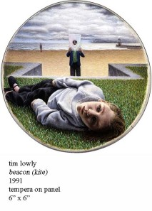 Tim Lowly Beacon (kite) ...in this painting of Tim's, he is holding the paper kite & as his daughter Temma lays on the grass.